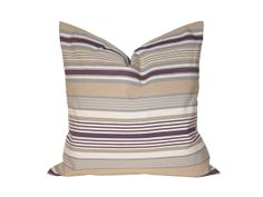 """20"""" x 20"""" Designer Pillow Cover / Decorative Throw Pillow / Accent Cushion Cover / Pillow Case (Tan, Purple and White Stripes)"""