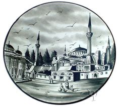 Iznik Design Ceramic Plate - Ottoman Miniature Turkish Lamps, Turkish Tiles, Grand Bazaar, China Painting, Ceramic Plates, Istanbul, British Museum, Ottoman, Miniatures