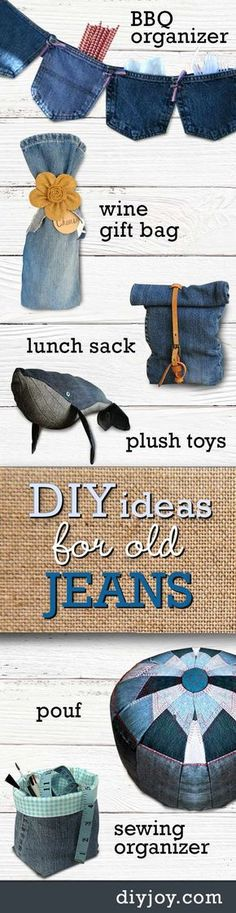DIY ideas for old jeans - Upcycling Projects with Denim | Cute Crafts and Creative Home Decor by DIY JOY Dyi Party Decorations, Denim Party, Easy Home Decor, Retro Home Decor, Upcycling Projects, Diy Craft Projects, Sewing Projects, Upcycled Crafts, Easy Diy Crafts
