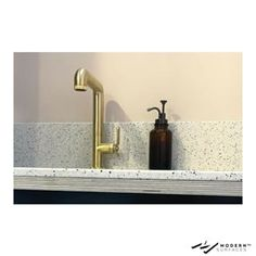 We've seen a popularity of brass faucets with tops recently. What do you think? What is your favorite material to work with? GC Apartment Kitchen & Brass Tap from with sink. Brass Tap, Brass Faucet, Faucets, Bathroom Goals, Apartment Kitchen, Thinking Of You, Sink, Interiors, Spaces