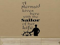 Mermaid lives here with sailor of life wall por WallDecalsAndQuotes