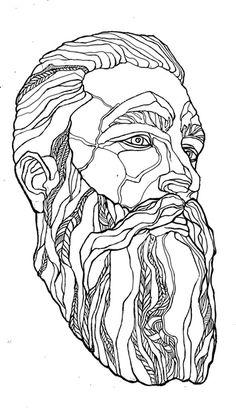 Portrait with a beard by Daria Zaitseva, via Behance