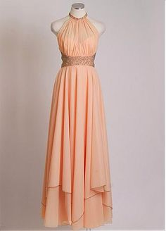 Chic Chiffon High Collar Neckline Floor-length A-line Prom Dress