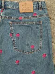 Lily Pulitzer Womens Blue Denim Jeans With Pink Palm Tree Embroidery Size 10 Euc - Jeans
