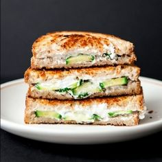 Cucumber goat cheese grilled cheese sandwiches... a crisp and refreshing rendition for summer.