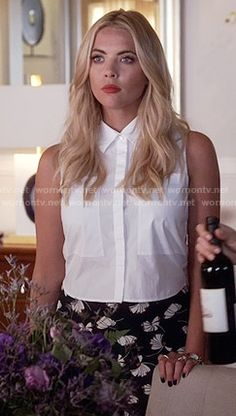 Hanna's black floral print trousers and white cropped shirt on Pretty Little Liars.  Outfit Details: https://wornontv.net/55612/ #PLL