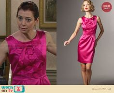 Lily's hot pink bow front dress on How I Met Your Mother. Outfit Details: http://wornontv.net/28813 #HIMYM #fashion