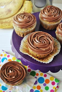 Reeses Peanut Butter Cup Banana Cupcakes at www.somethingswanky.com