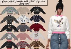 LumySims: Crop Knit Sweater with Shirt Recolor • Sims 4 Downloads