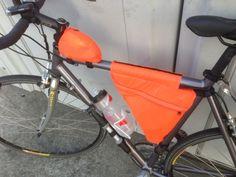 Homemade bike frame bags made from ripstop nylon.