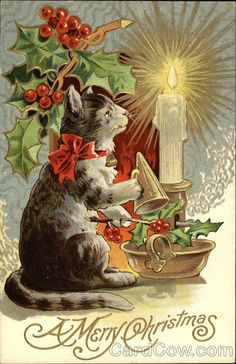 1914 Christmas Cat Postcard * 1500 free paper dolls Christmas gifts artist Arielle Gabriels The International Paper Doll Society also free paper dolls The China Adventures of Arielle Gabriel *
