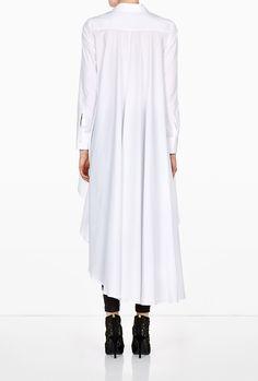 Cotton Poplin Long Back Asymmetric Shirt by palmer//harding White Shirts Women, Dress Shirts For Women, White Fashion, Love Fashion, Womens Fashion, Cool Outfits, Casual Outfits, Maxi Shirts, Classic White Shirt