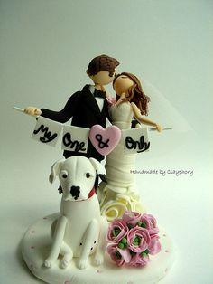 Romantic- Customized wedding cake topper with dog  Not this but I want my pup in my wedding