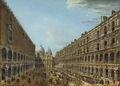 ANTONIO JOLI. THE COURTYARD OF THE DOGE'S PALACE WITH THE APOSTOLIC NUNCIO MONSIGNOR GIOVANNI FRANCESCO STOPPANI AND SENATORS IN PROCESSION, 17 APRIL 1741. 1742 c.- oil on canvas. 160,7 × 221,6 cm. Provenance : Mrs Barbara Hutton; her gift to the National Gallery of Art, Washington, in 1945, as Canaletto. Washington. National Gallery of Art. Inv. No. 1945. 15. 1.