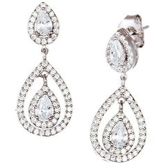 Lord & Taylor Sterling  Teardrop Earrings ($35) ❤ liked on Polyvore featuring jewelry, earrings and silver