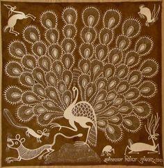 l'art des Warli, Aborigènes de l'Inde Worli Painting, Peacock Painting, Art Colibri, Art Indien, Peacock Coloring Pages, Hummingbird Art, Art Premier, Madhubani Art, Indian Folk Art