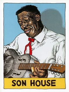 """Son House""""Heroes of the Blues Trading Cards"""" by Robert Crumb… Robert Crumb, Harvey Pekar, Laurent Durieux, Fritz The Cat, Jazz, Delta Blues, Blue Poster, Blues Artists, Illustrations"""