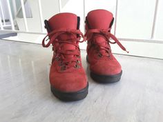 SALE Vintage Retro 1980s 1990s Red Leather Hiking by DejaVintageUK