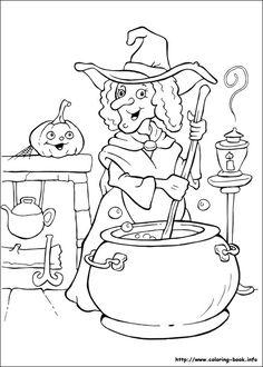 Image sorcière à colorier