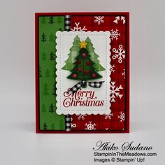 Stampin' Up! Perfectly Plaid Christmas Card – Stampin' in the Meadows Christmas Trimmings, Plaid Christmas, Green Christmas, Rustic Christmas, Stampin Up Christmas, Christmas Cards, Christmas Ornaments, Dark Tree, Hand Stamped Cards