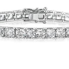 Asscher Cut Cubic Zirconia Tennis Bracelet... Our Asscher Cut Classic Tennis bracelet is a must have for Asscher Cut stone lovers! A beautiful clean line of Asscher Cut diamond quality cubic zirconia stones that dazzles and sparkles in the way that only a tennis bracelet can. Bracelet length is our standard seven inches.  Available in 14K white gold or 14K yellow gold. Model: 5505A, starting at $2595.00