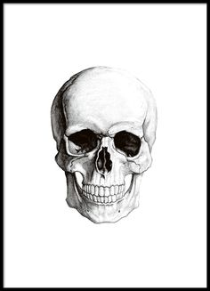 Print with a black and white skull, framed.