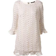 Cream Crochet Shift Dress ($120) ❤ liked on Polyvore featuring dresses, vestidos, tops, vestiti, sweaters, women, cream long sleeve dress, pink long sleeve dress, crochet shift dress and long-sleeve shift dresses