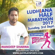 Mandeep Sharam an active Runner supports the cause: STOP VIOLENCE AGAINST WOMEN  #StopViolenceAgainstWomen  For Registrations: https://justplaysportz.com/events/Ludhiana-Half-Marathon-2017  #Punjab #Ludhiana #HalfMarathon #10K #5K #21K