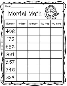 7 Mental Maths for Grade 2 Worksheets Mental Math Freebie grade math √ Mental Maths for Grade 2 Worksheets . 7 Mental Maths for Grade 2 Worksheets. Physical Education Activities, Mental Maths Worksheets, Grade 3 Math Worksheets, Math Education, Math Subtraction Worksheets, Subtraction Strategies, Addition Worksheets, Maths 3e, Second Grade Math