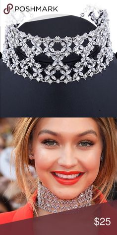 CHOKER NECKLACE Silver Clear Crystal Rhinestone Flower Choker. 2 inches wide Jewelry Necklaces