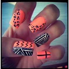 Leopard,tribal, and cross nail designs. Nails featuring polyvore beauty products nail care nail treatments nails nail polish