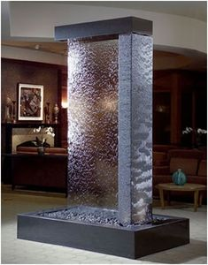 Indoor Water Features Ideas Indoor Water Features: Wall Fountain Decoration for Homes Indoor Water Features. Do you enjoy the cool ambiance and sound of a water fountain just located at the front l… Water Fountain For Home, Water Wall Fountain, Tabletop Water Fountain, Indoor Wall Fountains, Indoor Fountain, Water Fountains, Indoor Waterfall Wall, Garden Waterfall, Modern Water Feature