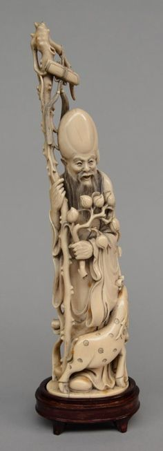 """A Chinese ivory carved figure depicting """"Shou Xing"""" on : Lot 284"""