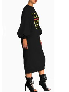 f505dd472c1 Black Monogram Black By Popular Demand Pattern Lantern Sleeve Scuba Casual Midi  Dress - Midi Dresses - Dresses