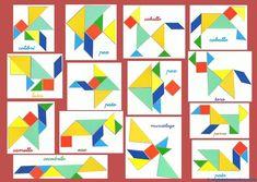 Tangram | Figuras para imprimir online Library Activities, Autism Activities, Fun Math, Math Games, Maths, Tangram Puzzles, Homeschool Math, Pattern Blocks, Math Centers
