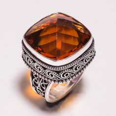 Fantastic Faceted Citrine .925 Silver Hand Carving Ring Size 9 Jewelry JT12…