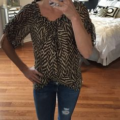 Milly Silk animal print top Smooth, gorgeous and super flattering Milly animal print top. Worn once. 100% silk. Milly Tops Blouses
