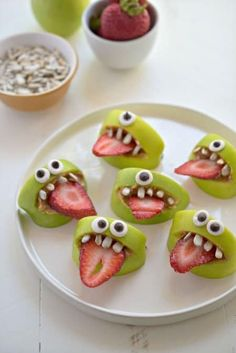 30 Healthy Halloween Party Food Ideas for Kids - Silly Apple Bites from Fork and Beans