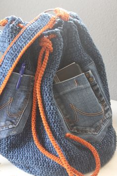 Stoere jeans tas gehaakt mat Catania denim