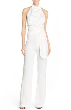 Misha Collection 'Delia' Halter Satin Jumpsuit available at #Nordstrom