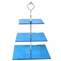 Amazon.com: Large 3 Tier Blue Acrylic Square Mirror Cake Stand 20cm 25cm 30cm Overall height 32cm: Home & Kitchen