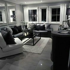 Black and Silver Living Room New Apartment Ideas🤔 Apartment Ideas Genel Black White And Grey Living Room, Living Room Grey, Home And Living, Living Rooms, Living Room Decor Cozy, Living Room Furniture, First Apartment Decorating, Apartment Living, Apartment Ideas