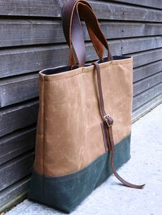 Waxed canvas bag/ carry all with  leather handles by treesizeverse, $139.00