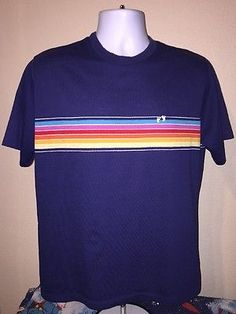 70s-80s-Vintage-Hang-Ten-Shirt-Rainbow-Color-Stripe-Hawaiian-Surf-Skater-Beach
