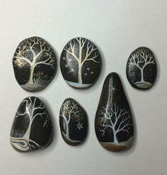 Silver trees on black Mandala Painted Rocks, Mandala Rocks, Hand Painted Rocks, Painted Stones, Pebble Painting, Pebble Art, Stone Painting, Rock Painting, Stone Crafts