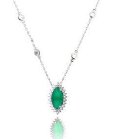 colar delicado esmeralda com banho de rodio e corrente ponto de luz semi joias finas