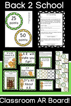 It's All About AR! Reach those AR goals each grading period!  Bright green, yellow and black colors with a safari theme!  Set up a space in your classroom to display your students' progress on AR!  Everything you need in one packet!  Lots of color options so you can customize it to your classroom! Back 2 School, Going Back To School, Ar Goals, Black Colors, Classroom Games, Safari Theme, Reading Resources, Bright Green, Reading Comprehension