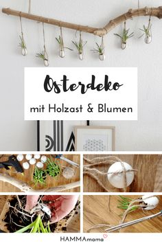 DIY decoration branch for Easter make yourself: Scandinavian minimalist with flowers Wood Crafts, Diy And Crafts, Kids Wood, Pin Collection, Happy Easter, Floral Arrangements, Easy Diy, Make It Yourself, Home Decor