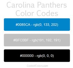 carolina panthers team color codes