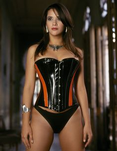 Siren Corset - Overbust corset shown in black PVC with orange panels. Available in black PVC with purple panels, or black PVC with red panels.